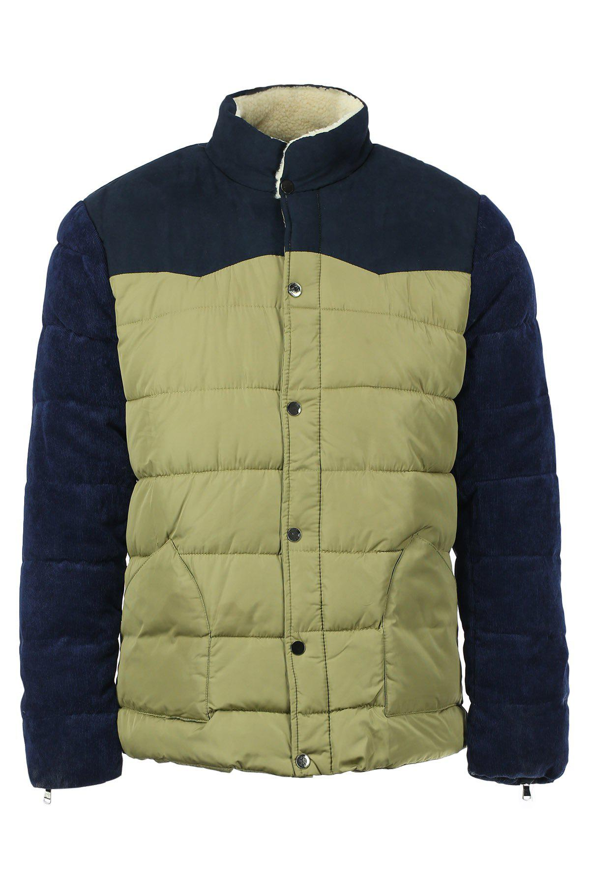 Color Block Splicing Flocking Stand Collar Long Sleeve Men's Cotton-Padded Coat
