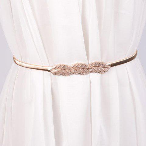 Elegant Leaf Shape Buckle Alloy Elastic Waist Belt For Women - GOLDEN
