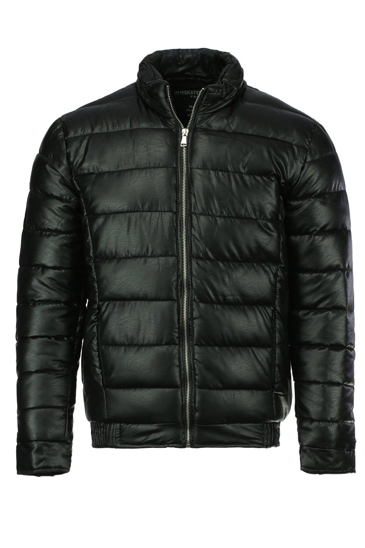 Solid Color Simple Stand Collar Long Sleeve Men's Cotton-Padded Jacket - BLACK XL