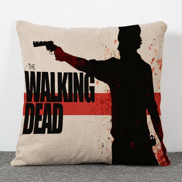 Chic The Walking Dead Silhouette Pattern Square Shape Flax Pillowcase (Without Pillow Inner) - RED