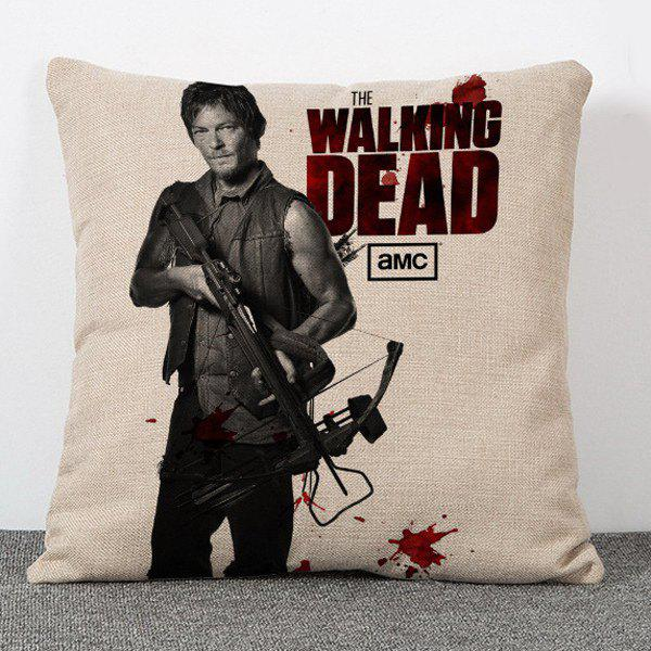 Chic The Walking Dead Daryl Dixon Pattern Square Shape Flax Pillowcase (Without Pillow Inner) - COLORMIX