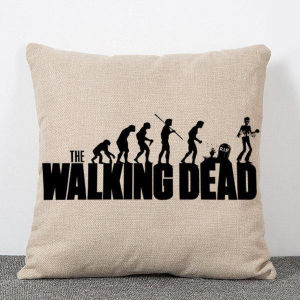 Chic The Walking Dead People Silhouette Pattern Square Shape Flax Pillowcase (Without Pillow Inner) - COLORMIX