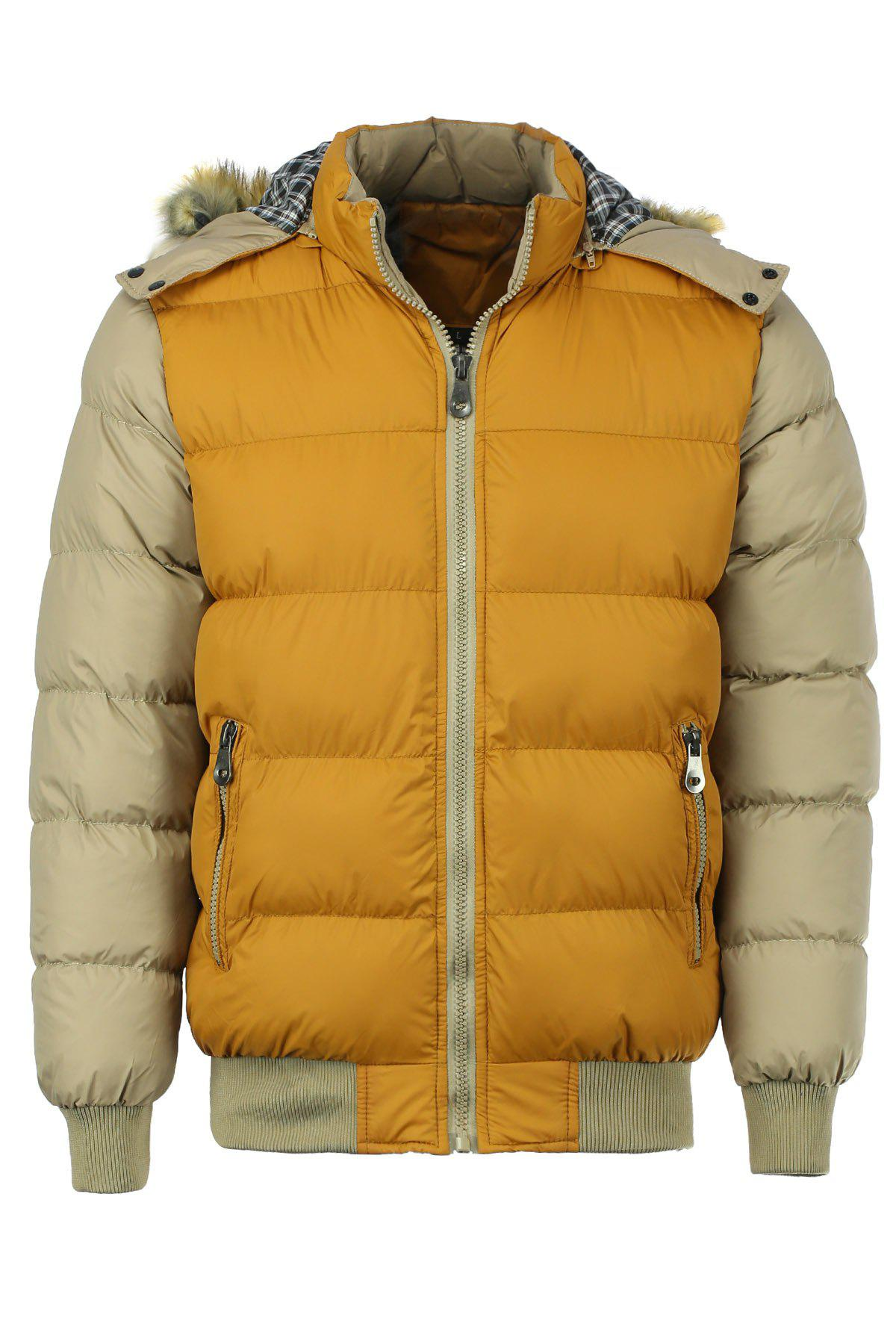 Zipper Pocket Color Splicing Rib Hem Hooded Long Sleeves Men's Thicken Padded Coat - ORANGE M