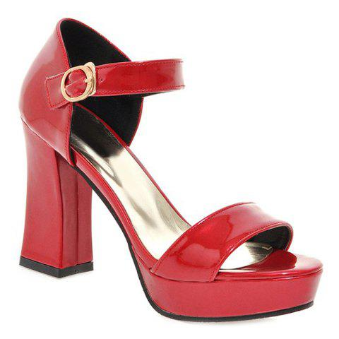 Fashion Patent Leather and Chunky Heel Design Women's Sandals - RED 39