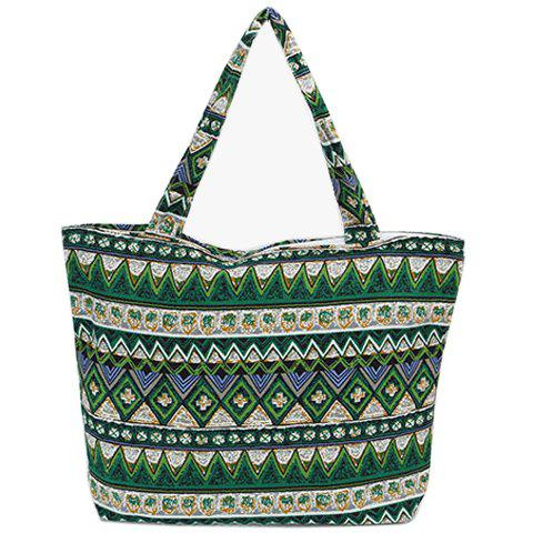 Bohemian Tribal Print and Canvas Design Women's Shoulder Bag - GREEN