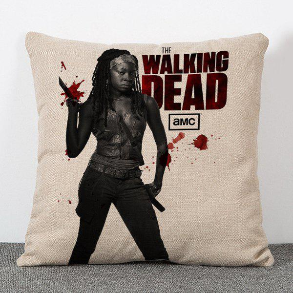 Chic The Walking Dead Michonne Pattern Square Shape Flax Pillowcase (Without Pillow Inner) - COLORMIX