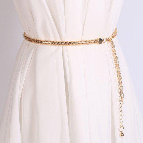 Elegant Hollow Out Tassel Snack Chain Waist Belt For Women - GOLDEN