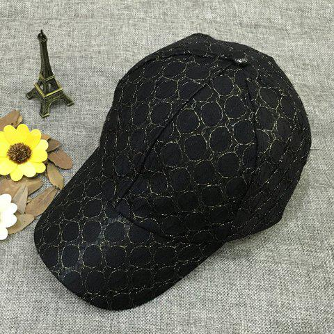 Chic Women's Solid Color Breathable Polka Dot Lace Baseball Cap - BLACK