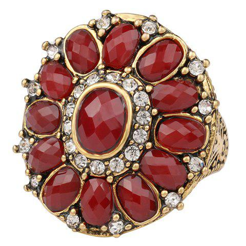 Rhinestone Faux Gem Floral Ring - RED ONE-SIZE