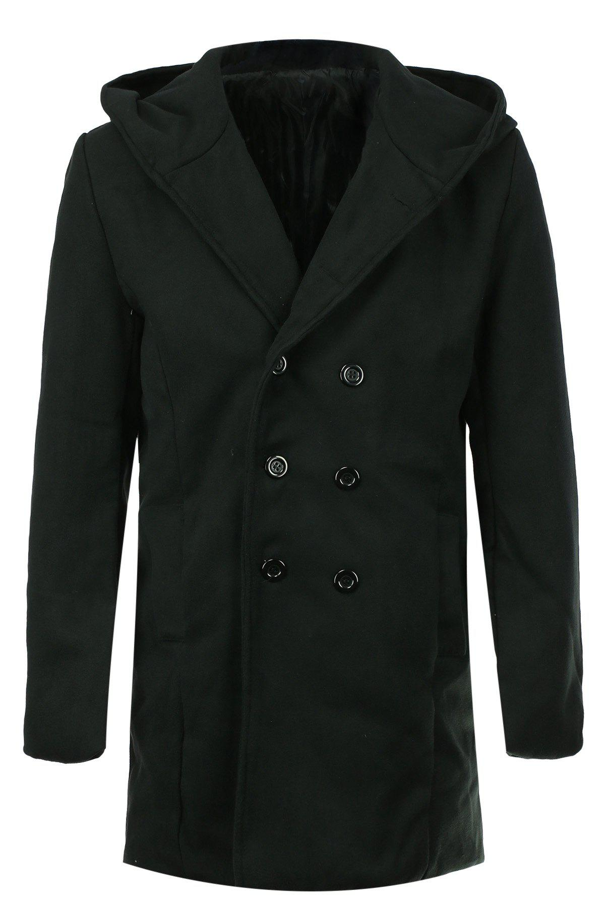 Laconic Hooded Multi-Button Back Slit Solid Color Long Sleeves Loose Fit Men's Thicken Peacoat - BLACK M