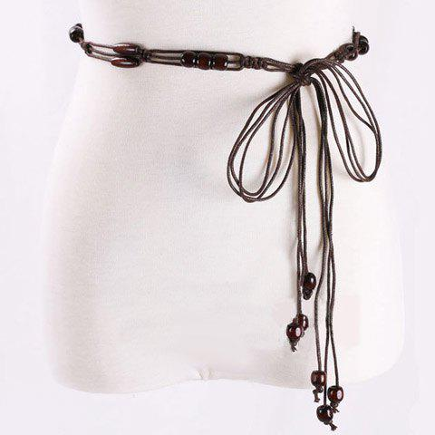 Elegant Multilayer Wooden Beads Decorated Knitted Waist Belt For Women - COFFEE