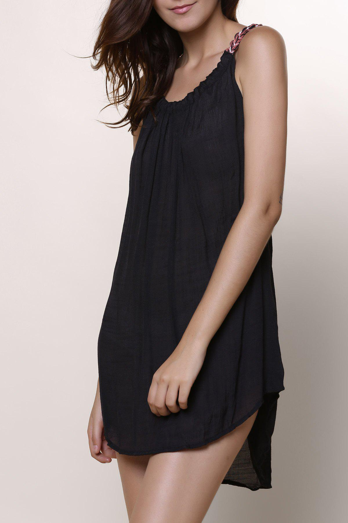 Stylish Round Neck Sleeveless Black Chiffon Dress For Women