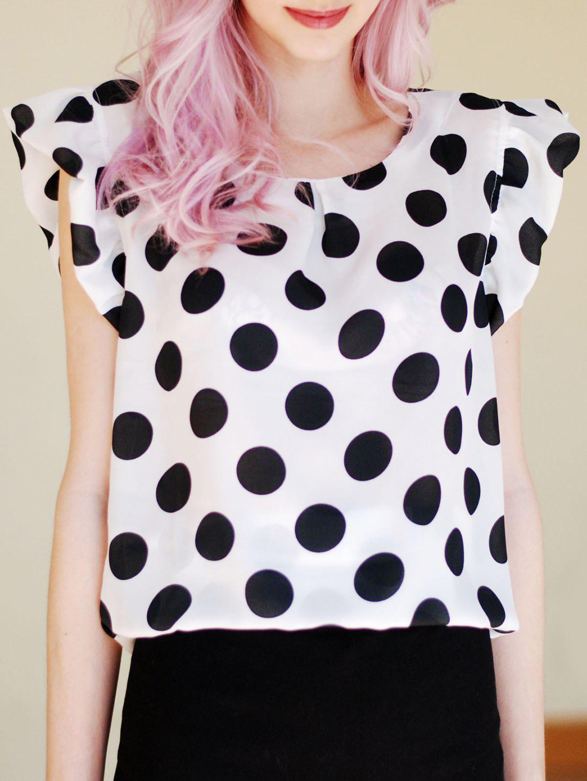 Flounce Cuffs Polka Dot Scoop Neck Blouse For Women - WHITE S