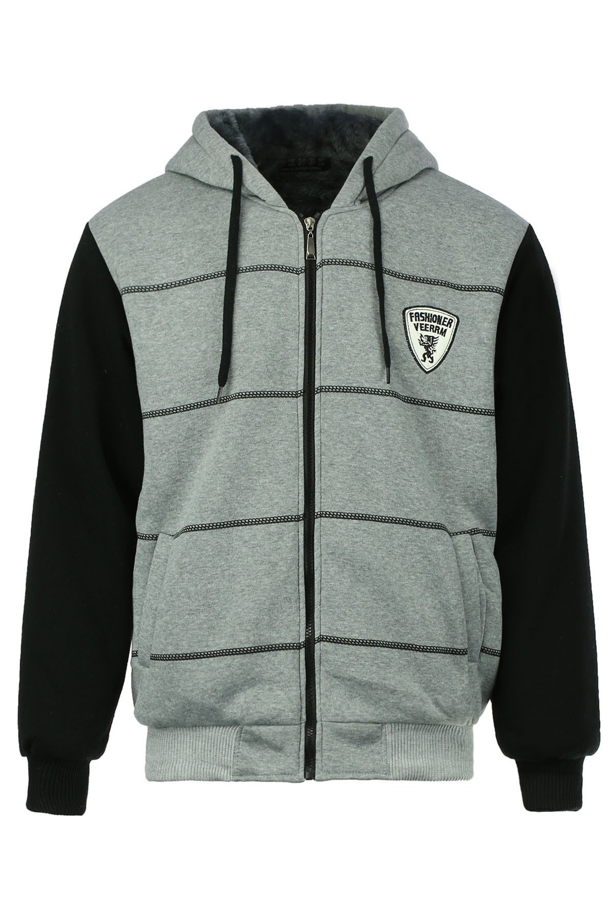 Slimming Drawstring Hooded Stripes Pattern Badge Design Color Block Long Sleeves Men's Flocky Hoodie - GRAY L