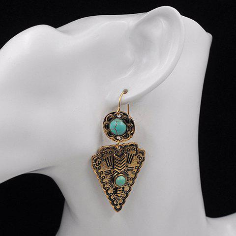 Pair of Faux Turquoise Flower Triangle Earrings - GOLDEN