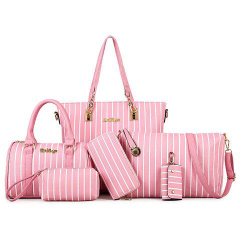 Fashionable PU Leather and Striped Design Women's Shoulder Bag - PINK