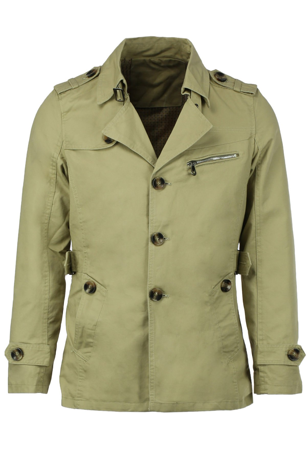 Epaulet Turn-Down Collar Single Breasted Long Sleeve Men's Trench Coat - LIGHT KHAKI M