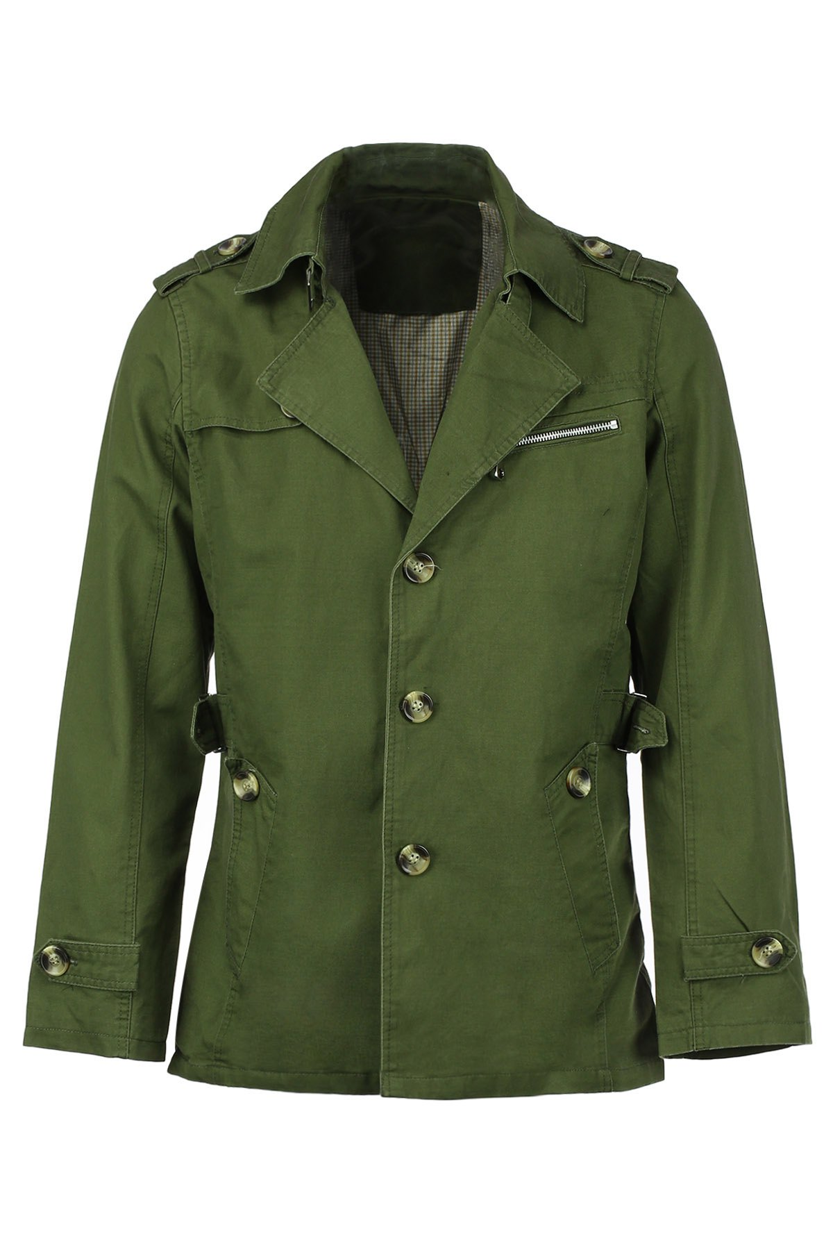Epaulet Turn-Down Collar Single Breasted Long Sleeve Men's Trench Coat - ARMY GREEN L