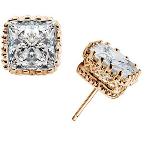 Faux Crystal Square Stud Earrings - GOLDEN