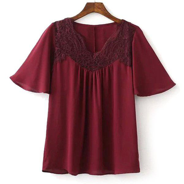 Trendy V Neck Short Sleeve Lace Spliced T-Shirt For Women - RED L