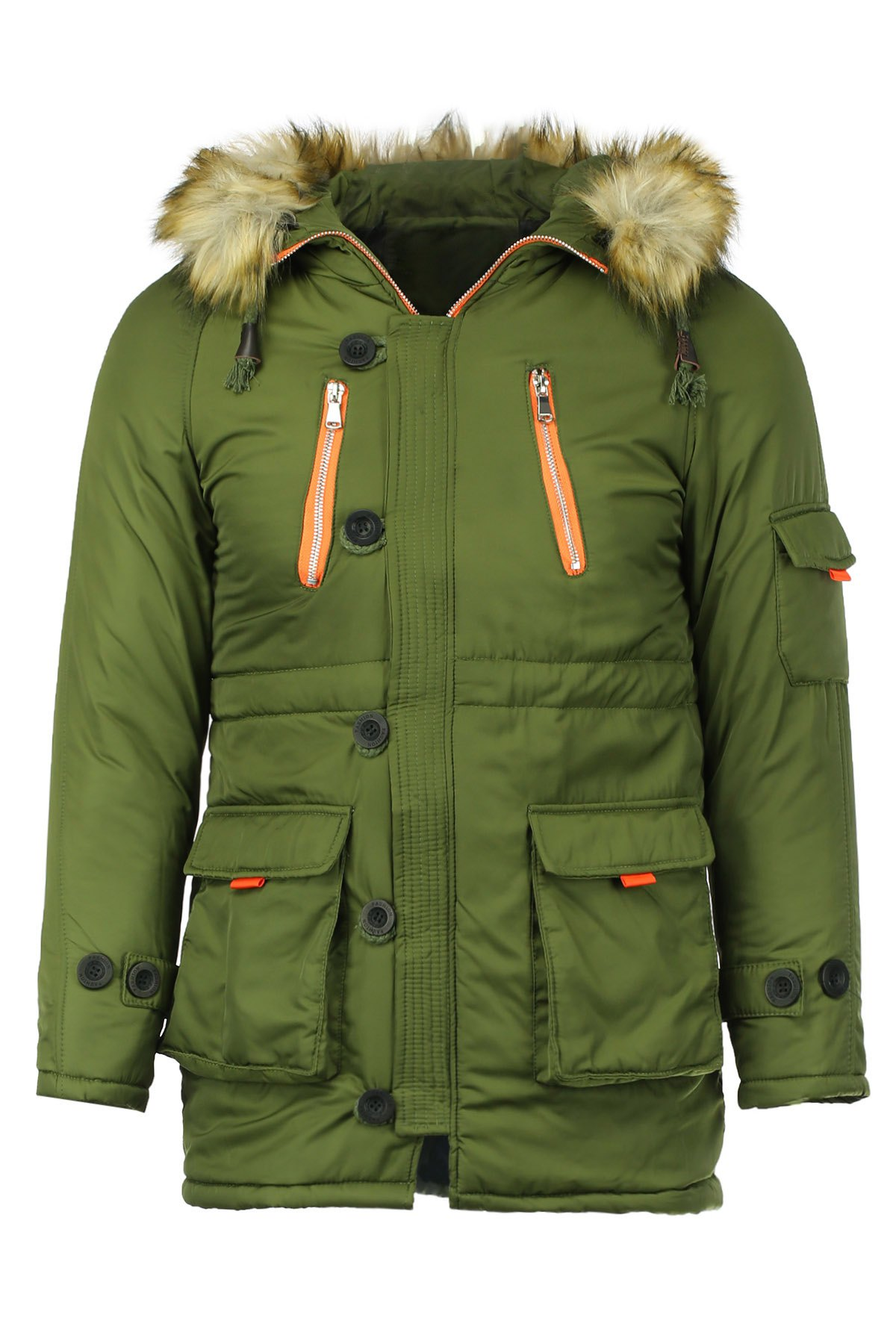 Color Block Multi-Zipper Stereo Patch Pocket Detachable Hooded Long Sleeves Men's Fitted Coat - ARMY GREEN L