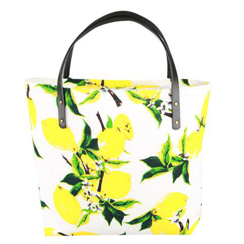 Sweet Lemon Print and Cloth Design Women's Tote Bag - WHITE