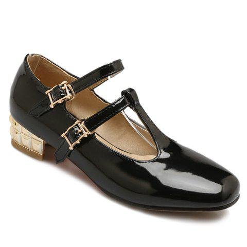Leisure Square Toe and Double Buckle Design Women's Flat Shoes - BLACK 38