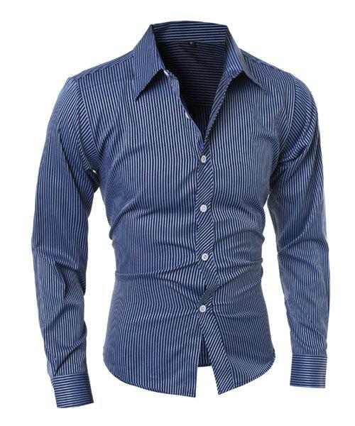 Slimming Shirt Collar Fashion Vertical Stripe Long Sleeve Polyester Men's Casual Shirt