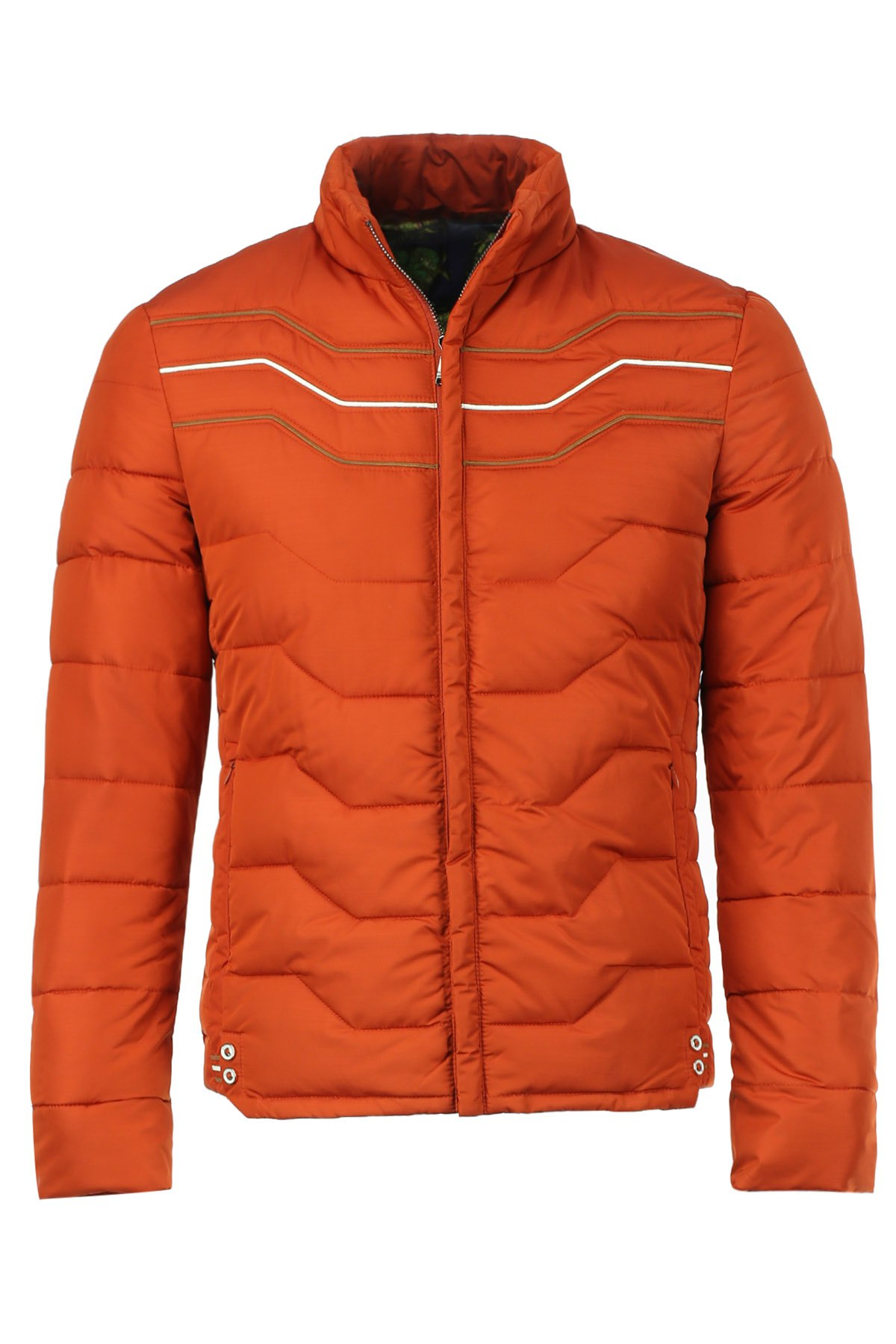 Slimming Stand Collar Zipper Pocket Color Block Wavy Stripes Long Sleeves Men's Padded Coat - ORANGE RED L