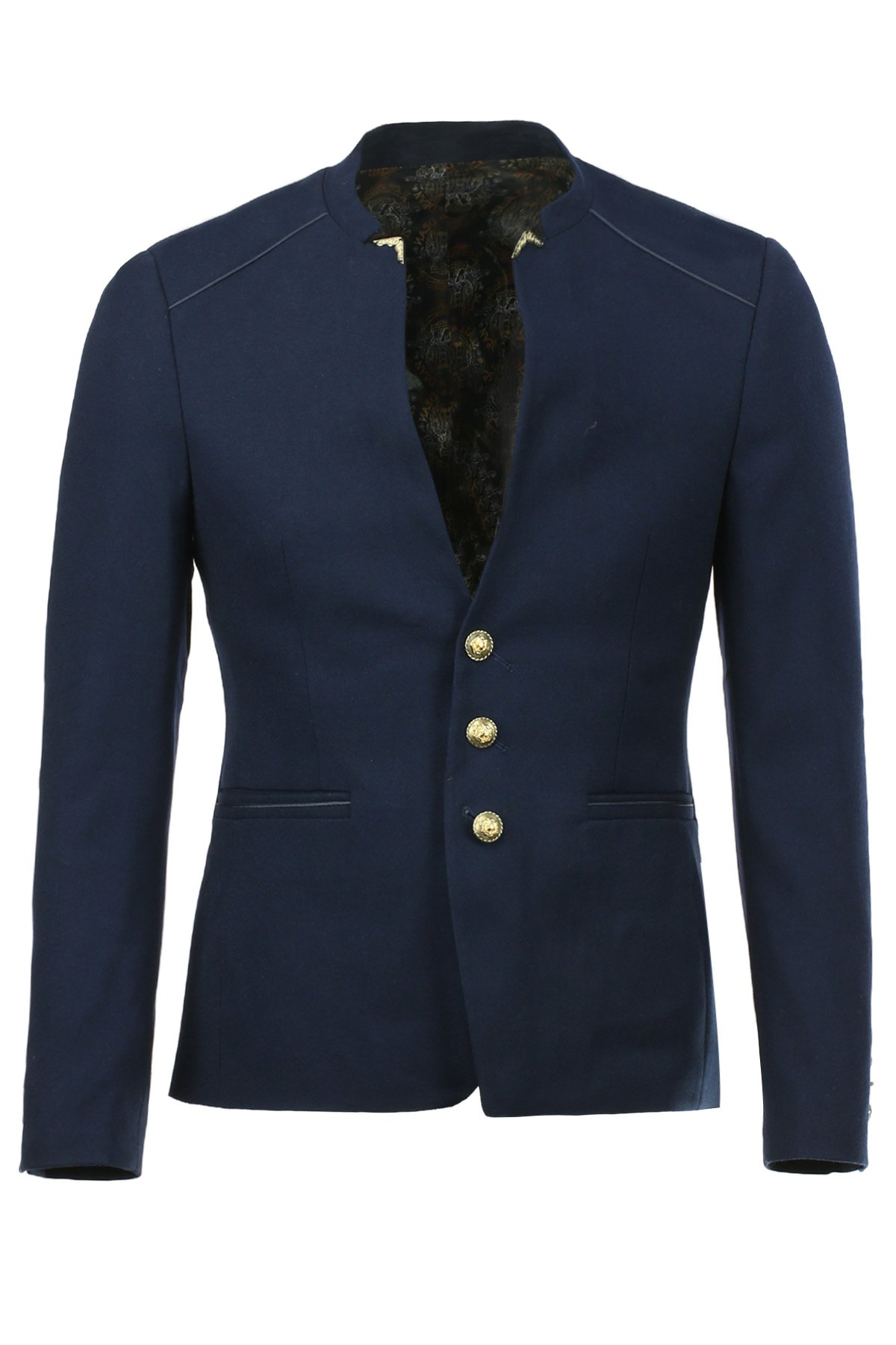Trendy Stand Collar Button Design Cuffs Long Sleeve Men's Single-Breasted Blazer - DEEP BLUE S