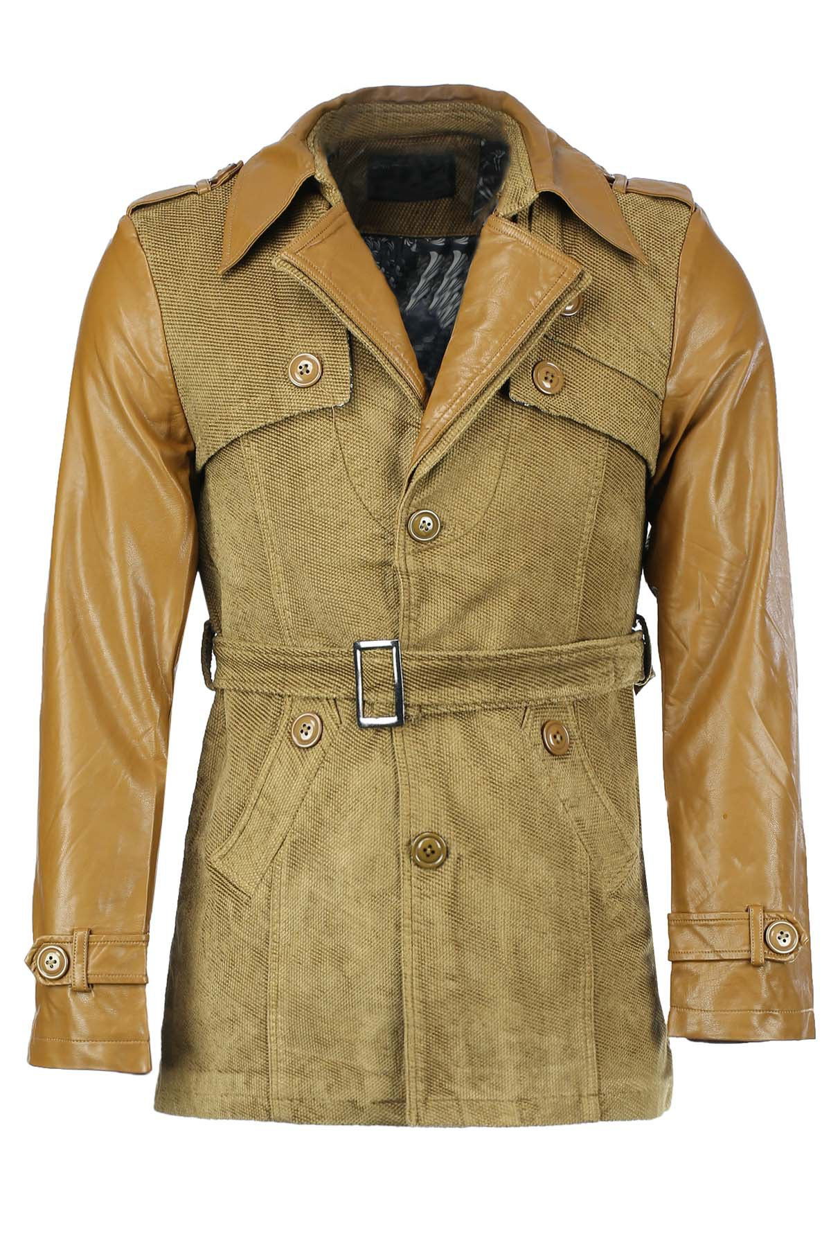 Belt Design Turn-Down Collar Solid Color PU-Leather Splicing Long Sleeve Men's Coat - KHAKI L