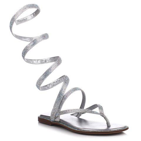 Fashionable Flip Flop and Rhinestone Design Women's Sandals - SILVER 38