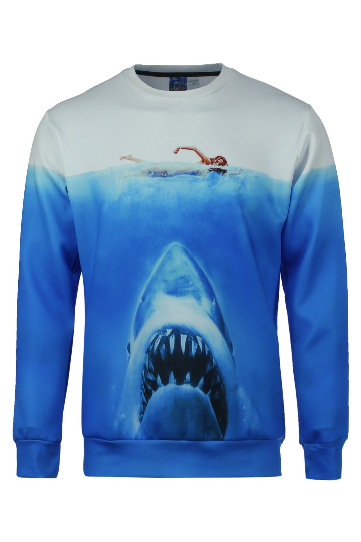 Fitted Fashion Round Neck 3D Shark Pattern Long Sleeve Men's Cotton Blend Sweatshirt - BLUE/WHITE M