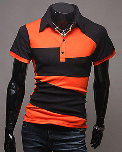 Laconic Turn-Down Collar Color Block Spliced Short Sleeve Men's Polo T-Shirt - ORANGE XL