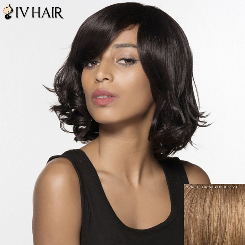 Fluffy Wavy Short Siv Hair Stunning Side Bang Human Hair Capless Wig For Women - BROWN/BLONDE