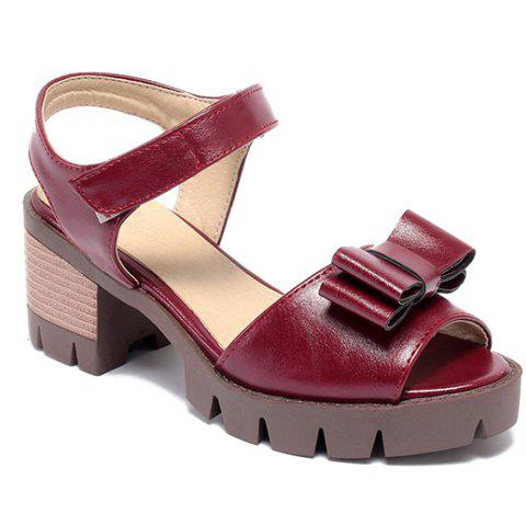 Ladylike  and Bowknot Design Women's Sandals - WINE RED 39