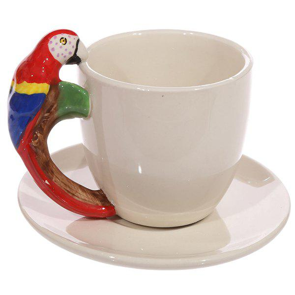 Fashion Animals Adventure Painting Ceramic Mug Parrot Shaped Handle Coffee Cups - COLORMIX