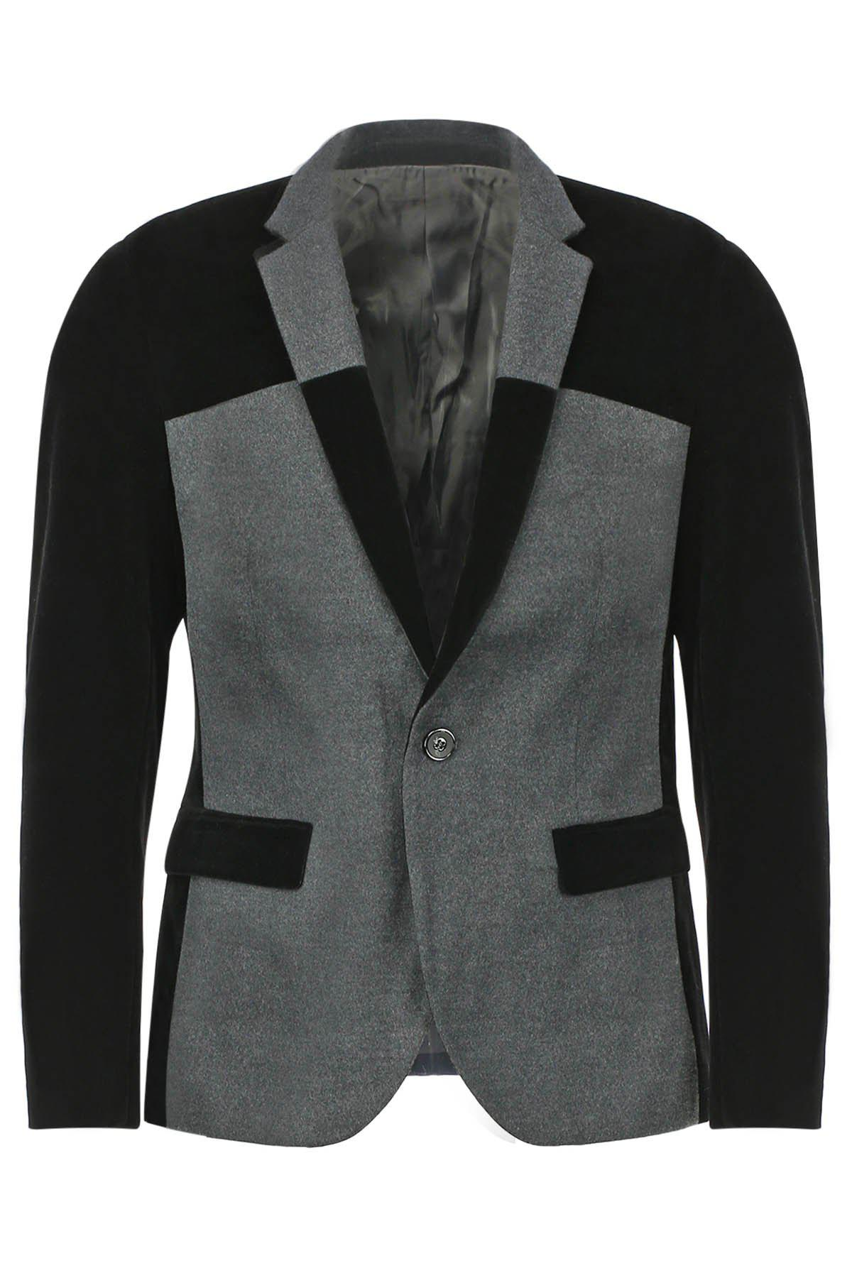Slimming Lapel Modish Color Block Splicing Long Sleeve Woolen Blend Men's Blazer - BLACK 4XL