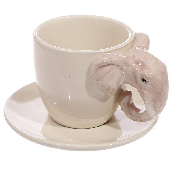 Fashion 3D Animals Adventure Painting Ceramic Mug Elephant Shaped Handle Coffee Cups - APRICOT
