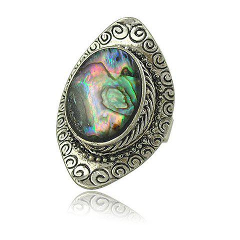 Embossed Faux Gem Oval Alloy Ring - SILVER