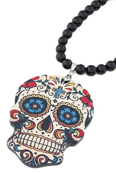 Chic Skull Pendant Black Beaded Necklace For Women - BLACK