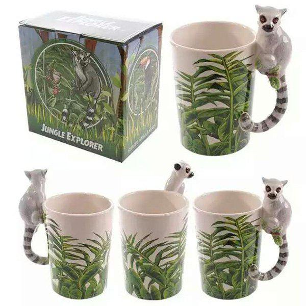 Fashion Raccoon Shaped Handle Coffee Cups 3D Animals Painting Ceramic Mug - COLORMIX