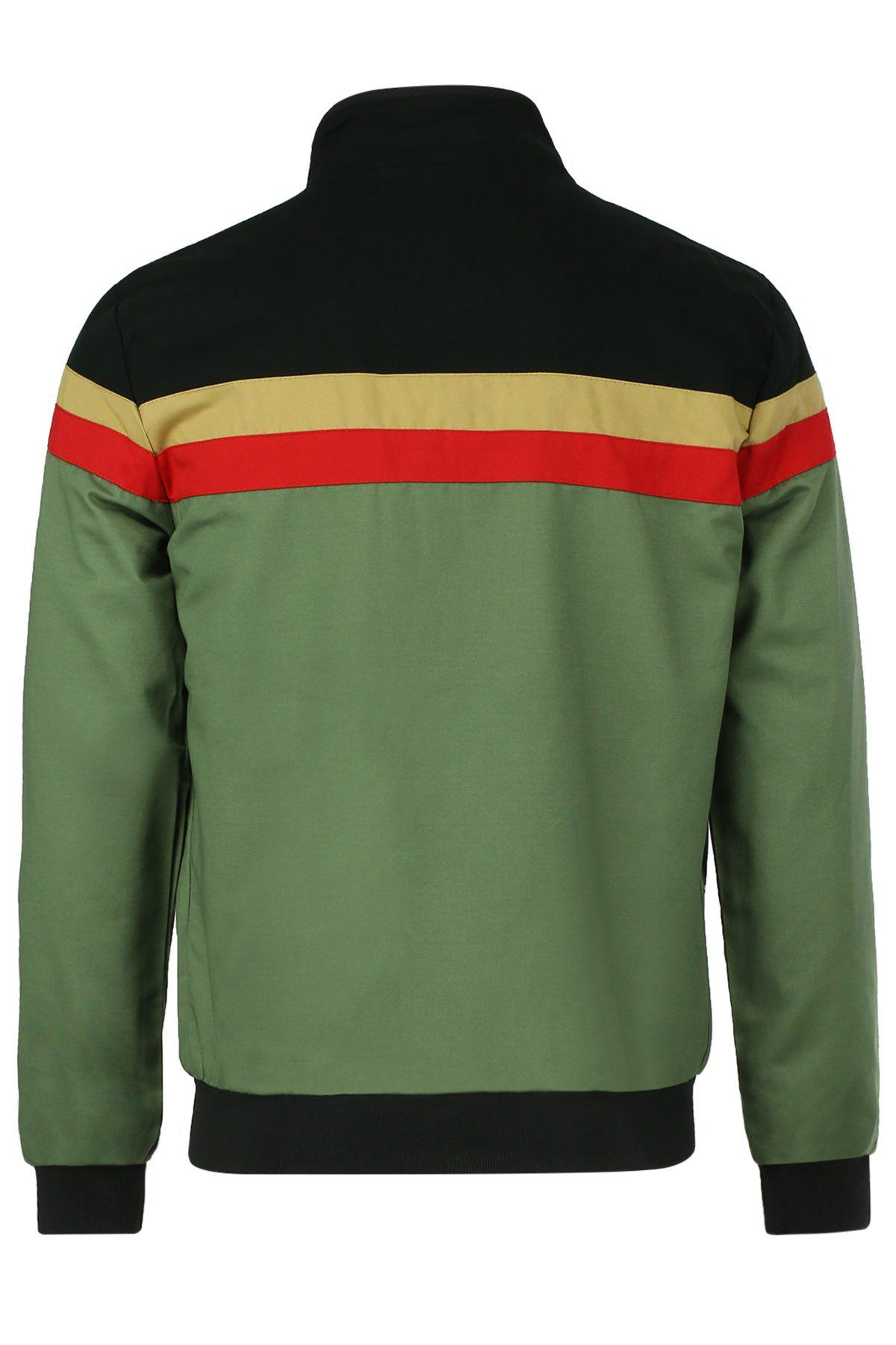 Plus Size Stripes Pattern Color Spliced Slimming Stand Collar Men's Long Sleeves Jacket - GREEN M