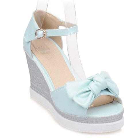 Fashionable Bowknot and Wedge Heel Design Women's Sandals - LIGHT BLUE 37
