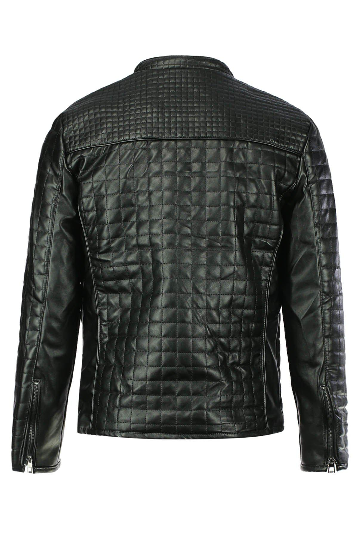 Checked Stand Collar Long Sleeve PU-Leather Slimming Men's Jacket - BLACK XL