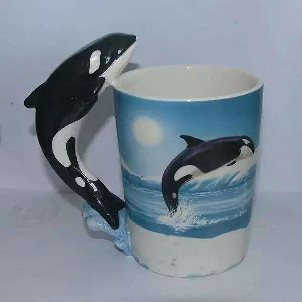 Fashion Whale Shaped Handle Coffee Cups 3D Animals Painting Ceramic Mug - COLORMIX