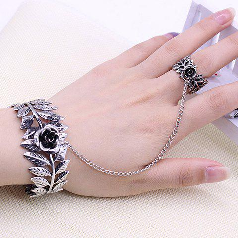 Flower Leaves Bracelet with Ring - SILVER