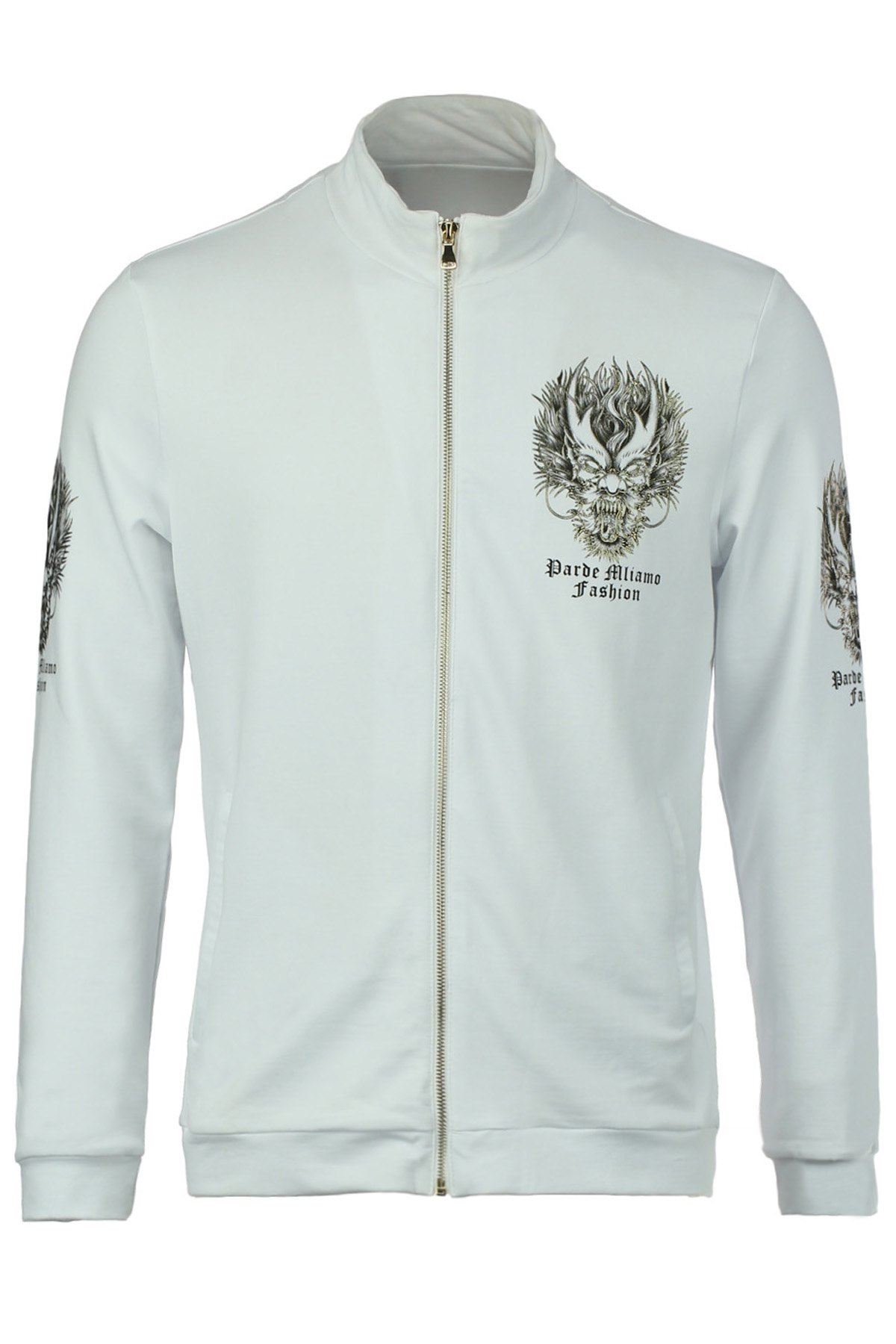 Stand Collar Dragon Head Letter Print Slimming Long Sleeve Men's Jacket - WHITE 5XL