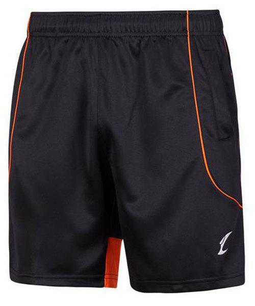Men's Sports Style Printing Quick Dry Gym Shorts - BLACK/ORANGE XL