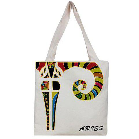 Leisure Aries Print and Canvas Design Women's Shoulder Bag - WHITE